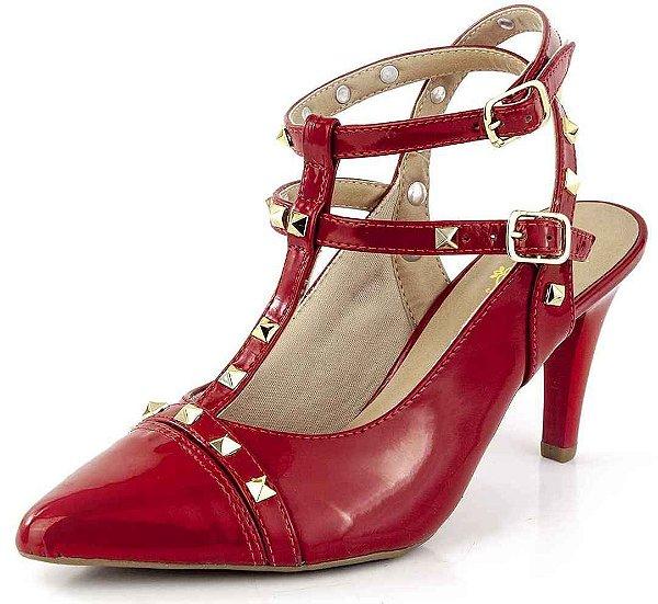 Sapato Channel Spikes Verniz Scarlet