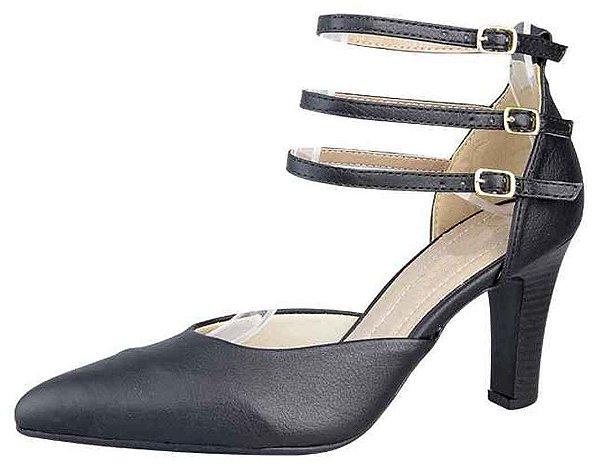 Sapato Scarpin Fivelas New Pele Preto
