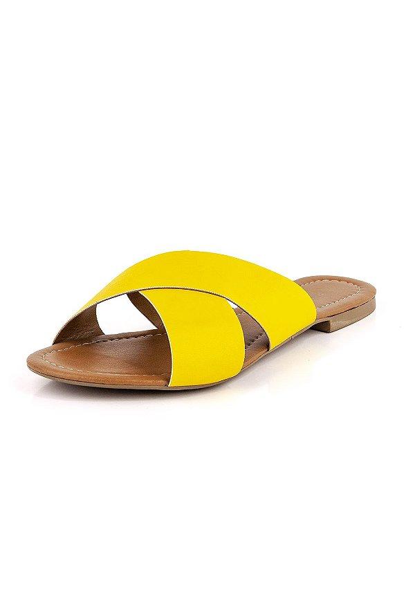 Rasteirinha Luxury Tiras Em X  Amarela