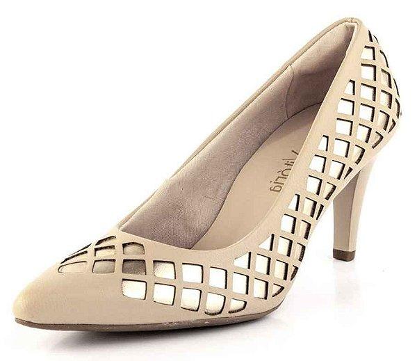 Sapato Scarpin Xadrez Ouro New Pele Bistrô