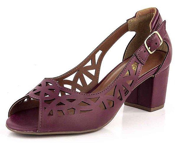 Sapato Peep Toe Recortes Laser New Pele Grená