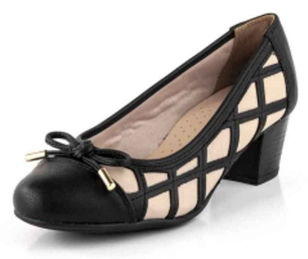 Sapato Salto Xadrez Bistrô Laço New Pele Preto