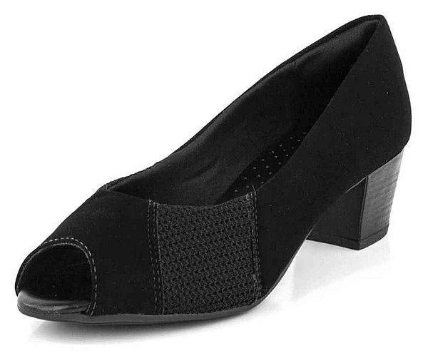 Sapato Peep Toe Crochê Nobuk Preto