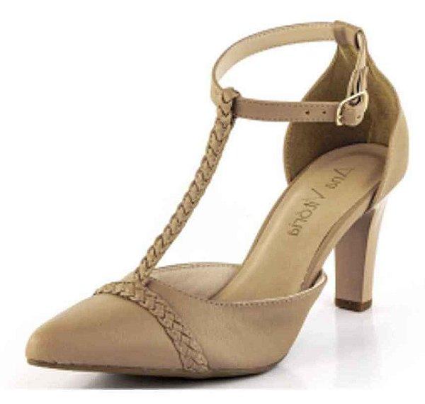 Sapato Channel Trança New Pele Antique