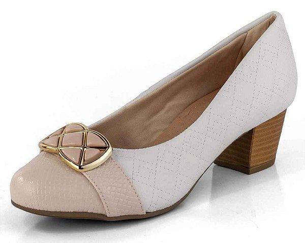 Sapato Salto Baixo Matelasse Cobra New Pele Branco