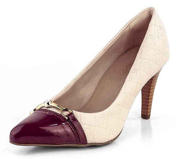 Sapato Scarpin Salto Fino Matelasse New Pele Creme