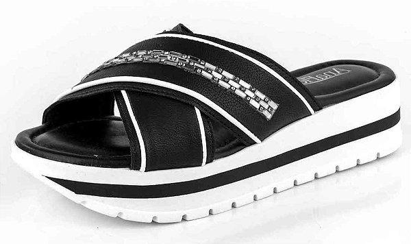 Sandália Plataforma Flatform Tiras Em X New Pele Preto