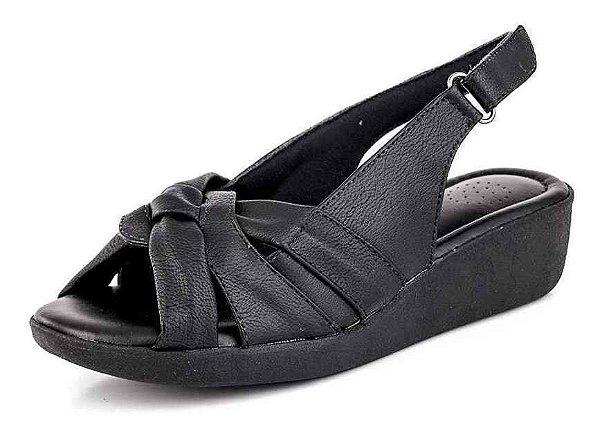 Sandália Conforto Entrelaçado Com Velcro New Pele Preto