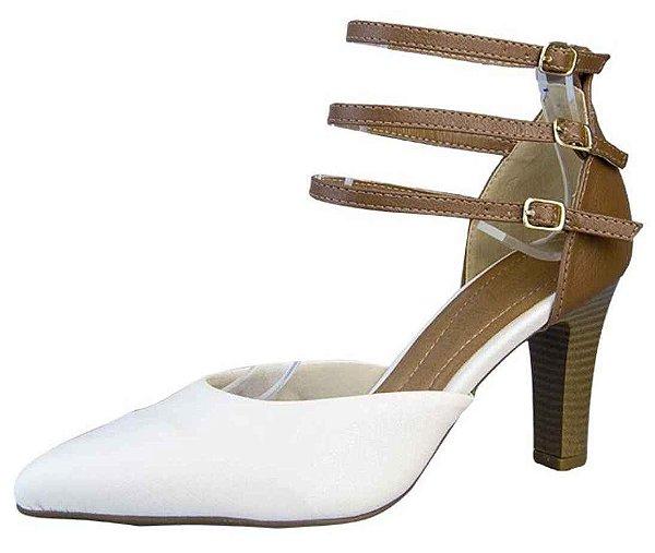Sapato Scarpin Fivelas New Pele Linhaça