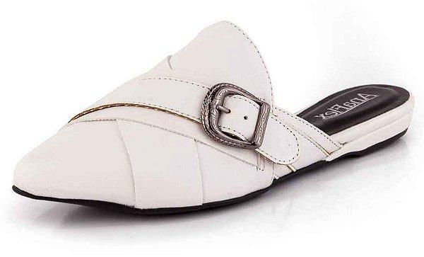 Mule Bico Fino Tiras em X com Fivela New Pele Branco