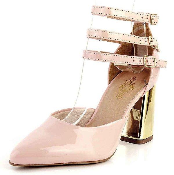 Sapato Scarpin Aberto Salto Geométrico Três Tiras Verniz Quartzo