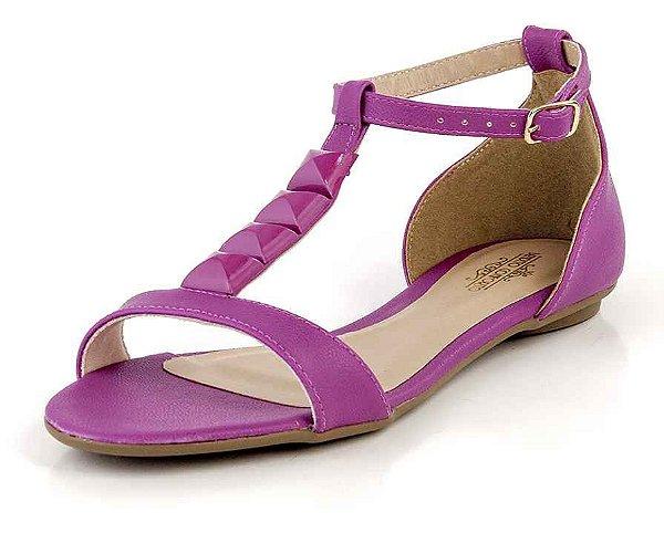 Sandália Rasteira Com Tira E Pedras Confetti Pink