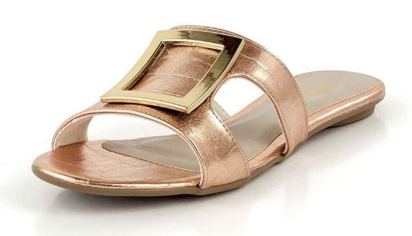 Mule Rasteira Recorte  Lateral Metal Champagne Ouro
