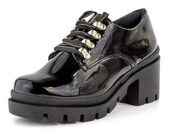 Sapato Oxford Tratorado Lurex Verniz Preto