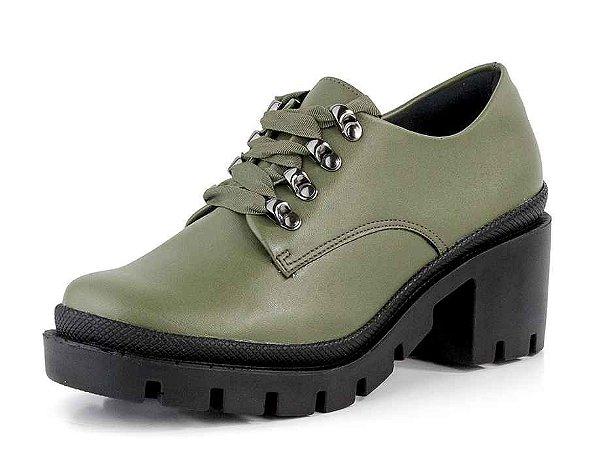 Sapato Oxford Tratorado Gorgurão New Pele Verde