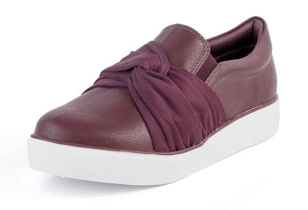 Tênis Slip On Casual Nó New Pele Marasca Bordô