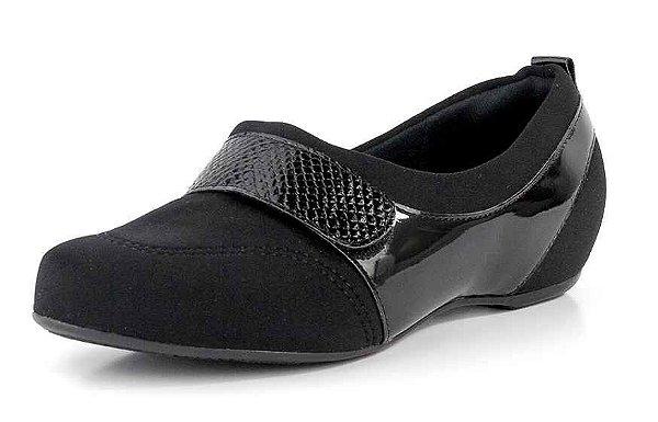 Sapato Conforto Velcro Lycra Preta