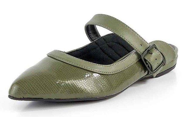 Mule Bico Fino Fivela Verniz Verde