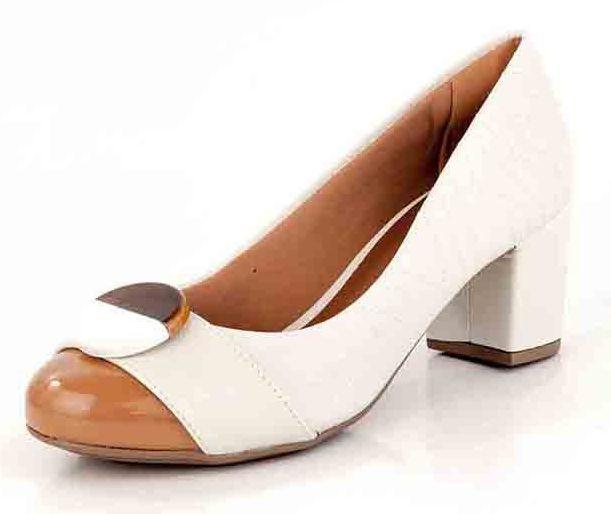Sapato Salto Bloco Botão New Pele Porcelana