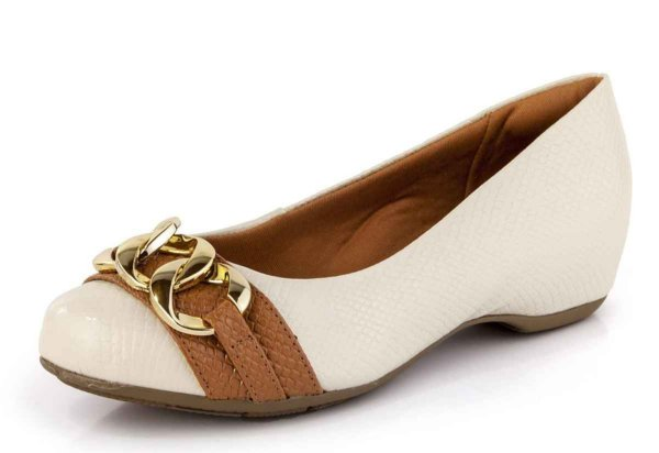 Sapato Conforto Corrente Verniz Porcelana