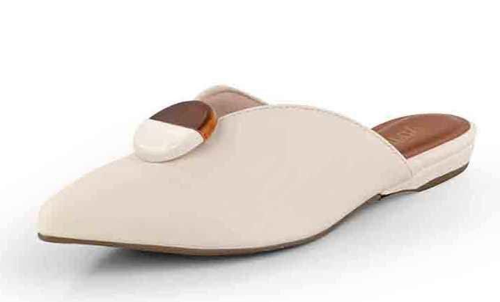 Mule Bico Fino Botão New Pele Porcelana