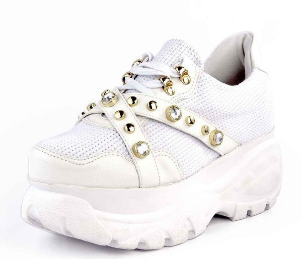 Tênis Sneaker Buffallo Chunky Pedrarias  Branco