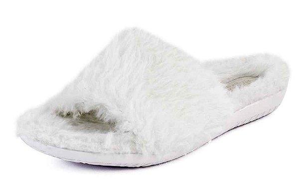 Chinelo Slide Feminino Pelúcia Off White