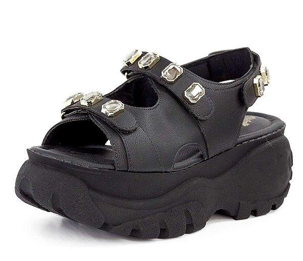 Sandália Buffalo Pedrarias Com Velcro New Pele Preto