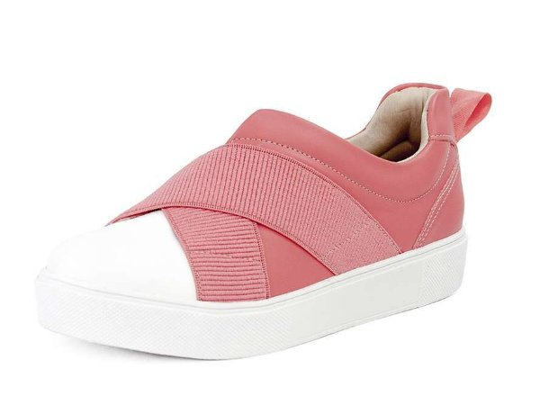 Tênis Casual Feminino Elástico Bico Branco Napa Rosa