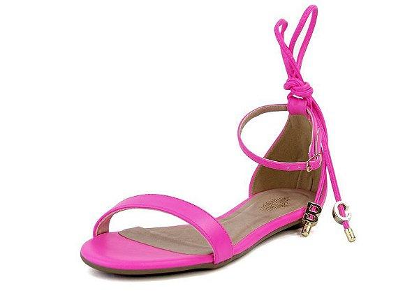 Sandália Rasteira Tiras De Amarrar Bc Fluor Rosa Neon
