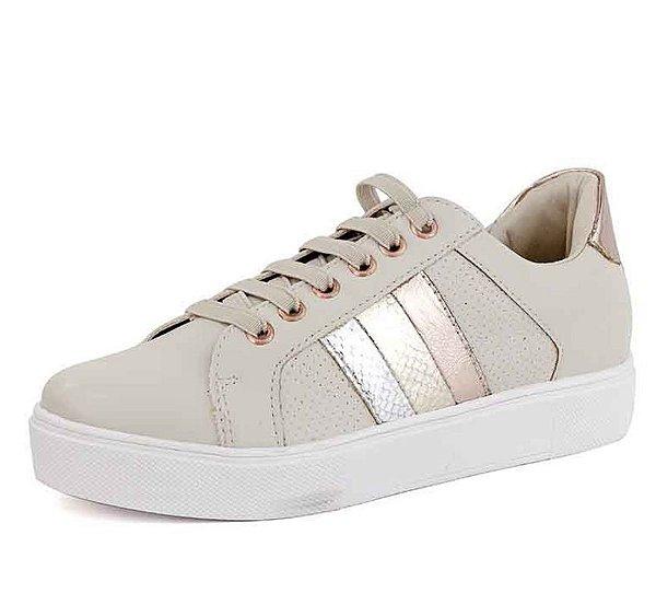 Tênis Casual Tiras Coloridas New Pele Off White Branco