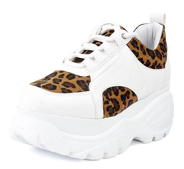 Tênis Sneaker Buffalo Plataforma New Pele Branco E Onça