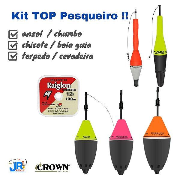 Kit Pesqueiro - Boia Cevadeira - Torpedo - Chicote - Anzol