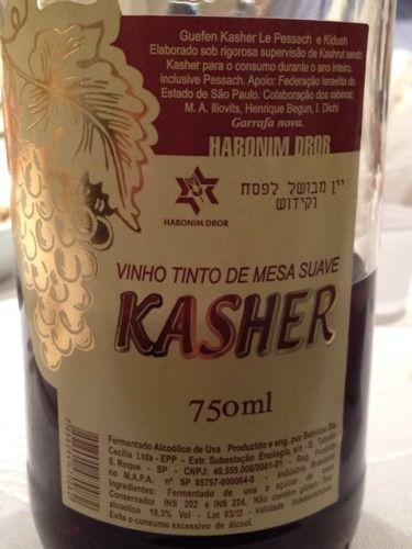 Vinho Tinto de Mesa Suave KASHER