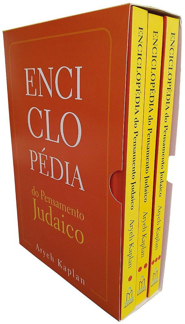ENCICLOPEDIA DO PENSAMENTO JUDAICO-BOX Os 3 volumes da Enciclopedia do Pensamento Judaico acomodados em uma prática luva.