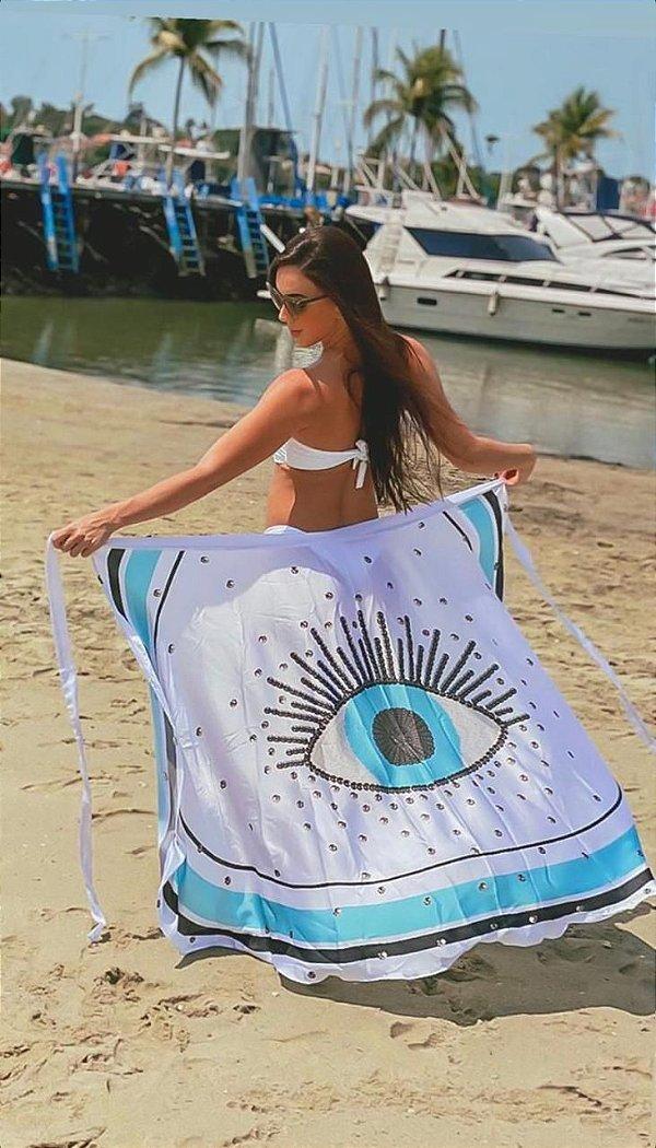 Saia Pareô Toque de Seda Olho Grego - Branca