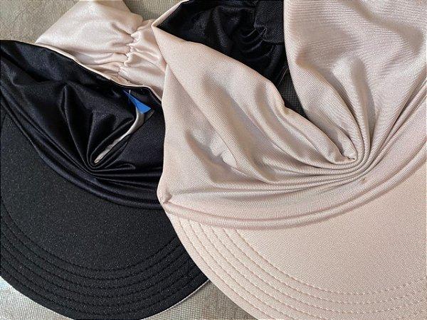Viseira Turbante UV50+ DUPLA-FACE - Premium cor Nude Rosê