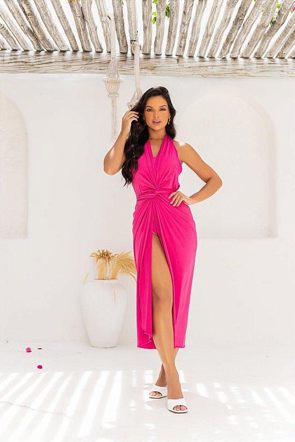 Vestido de Praia com Nózinho - Pink