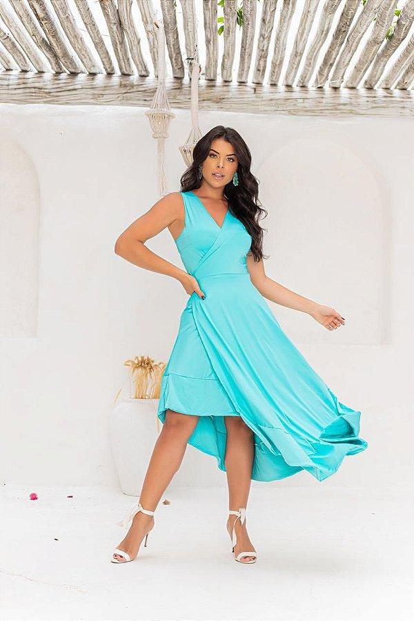 Vestido de Praia Transpassado - Azul Piscina
