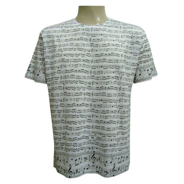Camiseta Manga Curta - Notas Musicais