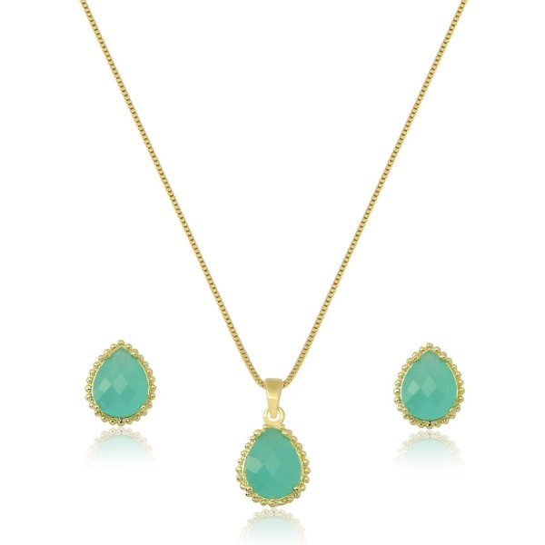 Conjunto com Pedra na cor Tiffany em Formato de Gota Folheado a Ouro 18K
