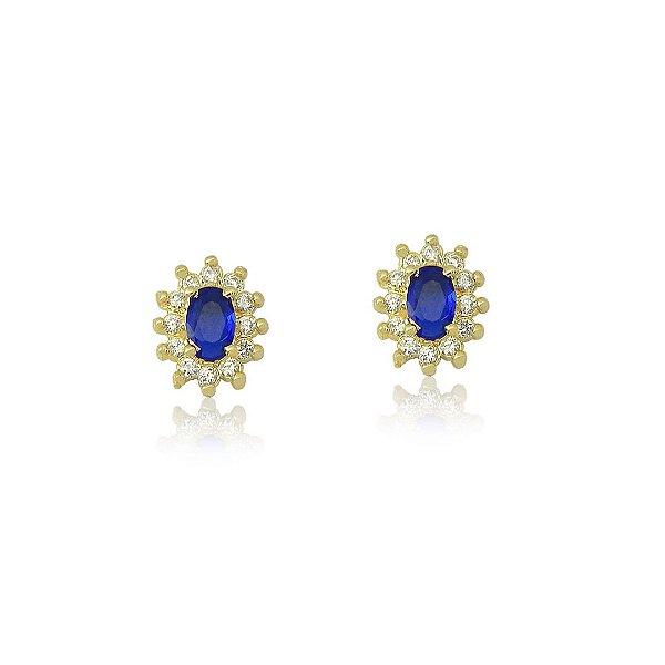Brinco Oval com Zircônias nas cores Cristal e Azul Folheado a Ouro 18K