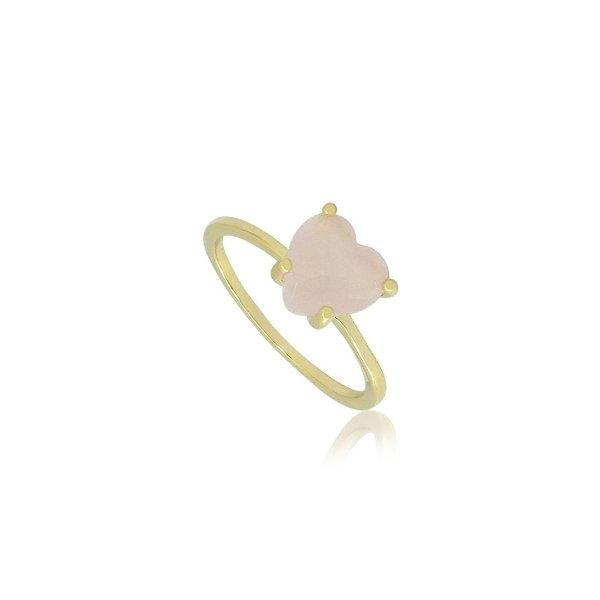Anel Solitário com pedra Rosa em Formato de Coração Folheado a Ouro 18K
