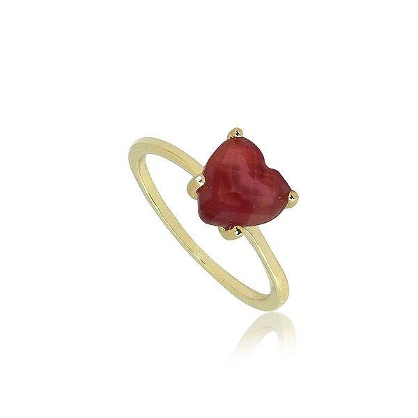 Anel Solitário com pedra Vermelha em Formato de Coração Folheado a Ouro 18K