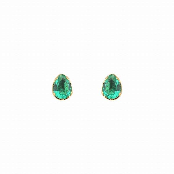Brinco Gota com Pedra Verde Esmeralda