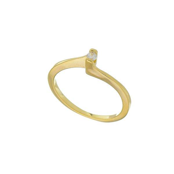 Anel Solitário com Pedra de Zircônia P Folheado a Ouro 18K