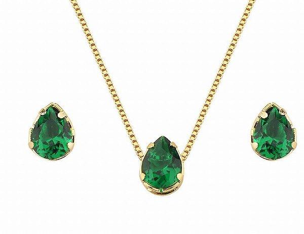 Conjunto em Formato de Gota Pequena com Pedra na Cor Verde Folheado a Ouro 18K