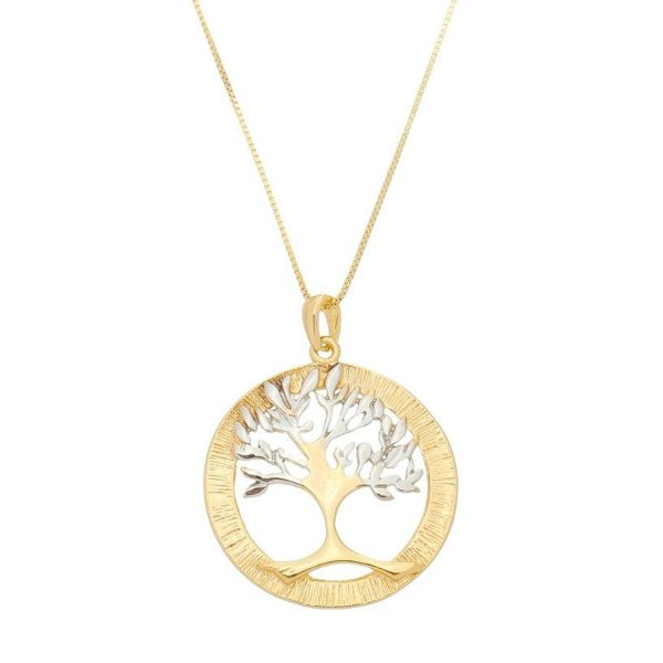 Colar Mandala Arvore da vida Folheado a ouro 18k