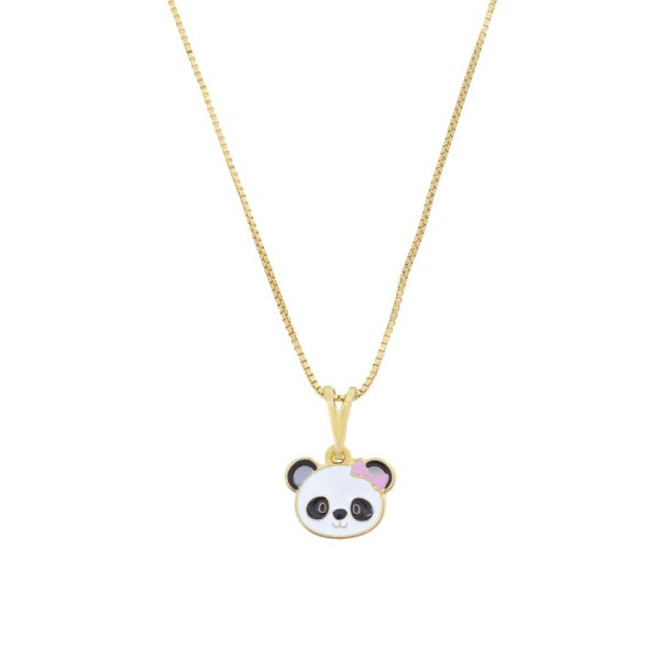 Colar infantil panda folheado a ouro 18K