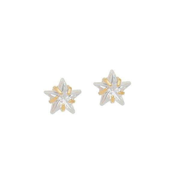 Brinco Estrela de Cristal Grande Folheado a Ouro 18K